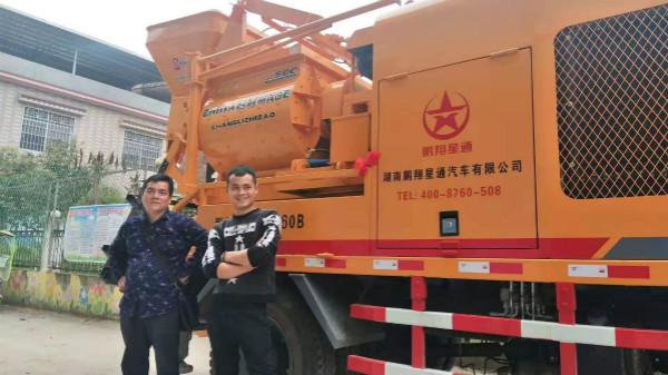 广西何老板,蒋老板喜提鹏翔星通车载搅拌泵车